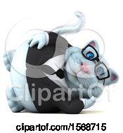 Clipart Of A 3d White Business Kitty Cat Resting On A White Background Royalty Free Illustration