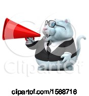 Clipart Of A 3d White Business Kitty Cat Using A Megaphone On A White Background Royalty Free Illustration