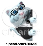 Clipart Of A 3d White Business Kitty Cat Looking Around A Sign On A White Background Royalty Free Illustration
