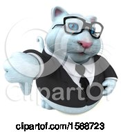 Clipart Of A 3d White Business Kitty Cat Holding A Thumb Down On A White Background Royalty Free Illustration