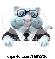 Clipart Of A 3d White Business Kitty Cat Over A Sign On A White Background Royalty Free Illustration