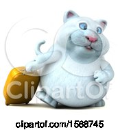 3d White Kitty Cat Traveler With Luggage On A White Background