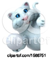 3d White Kitty Cat Holding A Golf Ball On A White Background