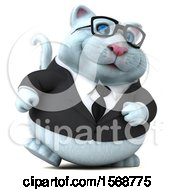 Clipart Of A 3d White Business Kitty Cat Walking On A White Background Royalty Free Illustration