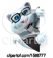Clipart Of A 3d White Business Kitty Cat Pointing Around A Sign On A White Background Royalty Free Illustration