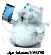 3d White Kitty Cat Holding A Mobile Phone On A White Background