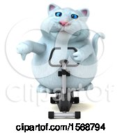Clipart Of A 3d White Kitty Cat Exercising On A Spin Bike On A White Background Royalty Free Illustration