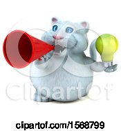 Poster, Art Print Of 3d White Kitty Cat Holding A Light Bulb On A White Background