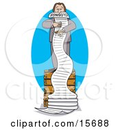 Overwhelmed Male Realtor Standing On A Crate And Reading A Really Long List Of Closings Clipart Illustration