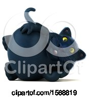 Clipart Of A 3d Black Kitty Cat Resting On His Side On A White Background Royalty Free Illustration