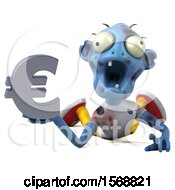 Clipart Of A 3d Blue Zombie Holding A Euro On A White Background Royalty Free Illustration