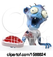 3d Blue Zombie Holding A Steak On A White Background