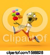 Clipart Of A 3d Zombie Holding Messages On A Yellow Background Royalty Free Illustration by Julos