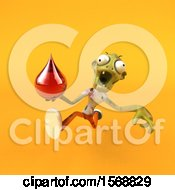 Clipart Of A 3d Zombie Holding A Blood Drop On A Yellow Background Royalty Free Illustration