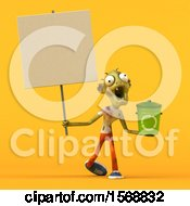 Clipart Of A 3d Zombie Holding A Recycle Bin On A Yellow Background Royalty Free Illustration by Julos