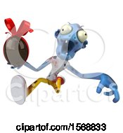 Clipart Of A 3d Blue Zombie Holding A Chocolate Egg On A White Background Royalty Free Illustration by Julos