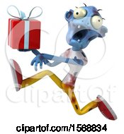Clipart Of A 3d Blue Zombie Holding A Gift On A White Background Royalty Free Illustration by Julos