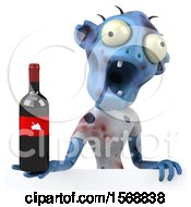 Clipart Of A 3d Blue Zombie Holding Wine On A White Background Royalty Free Illustration by Julos