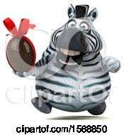 Clipart Of A 3d Zebra Holding A Chocolate Egg On A White Background Royalty Free Illustration by Julos