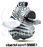 Clipart Of A 3d Zebra Holding A Plate On A White Background Royalty Free Illustration by Julos