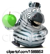 Clipart Of A 3d Zebra Holding An Apple On A White Background Royalty Free Illustration by Julos