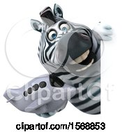 Clipart Of A 3d Zebra Holding A Plane On A White Background Royalty Free Illustration by Julos