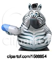 Clipart Of A 3d Zebra Holding A Pill On A White Background Royalty Free Illustration by Julos