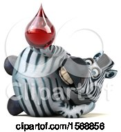 Clipart Of A 3d Zebra Holding A Blood Drop On A White Background Royalty Free Illustration by Julos