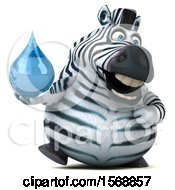 Clipart Of A 3d Zebra Holding A Water Drop On A White Background Royalty Free Illustration by Julos