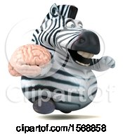 Clipart Of A 3d Zebra Holding A Brain On A White Background Royalty Free Illustration by Julos
