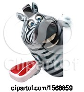 Clipart Of A 3d Zebra Holding A Steak On A White Background Royalty Free Illustration by Julos