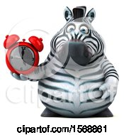 Clipart Of A 3d Zebra Holding An Alarm Clock On A White Background Royalty Free Illustration by Julos