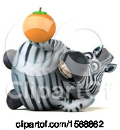 Clipart Of A 3d Zebra Holding An Orange On A White Background Royalty Free Illustration by Julos