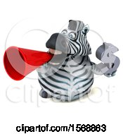 Clipart Of A 3d Zebra Holding A Dollar Sign On A White Background Royalty Free Illustration by Julos