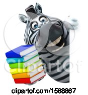 Clipart Of A 3d Zebra Holding Books On A White Background Royalty Free Illustration by Julos