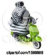 Clipart Of A 3d Zebra Riding A Scooter On A White Background Royalty Free Illustration by Julos