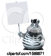 Clipart Of A 3d Zebra Holding A Blank Sign On A White Background Royalty Free Illustration by Julos