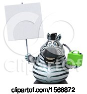 Clipart Of A 3d Zebra Holding A Gas Can On A White Background Royalty Free Illustration by Julos