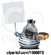 Clipart Of A 3d Zebra Holding A Donut On A White Background Royalty Free Illustration by Julos