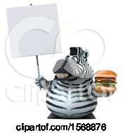 Clipart Of A 3d Zebra Holding A Burger On A White Background Royalty Free Illustration by Julos