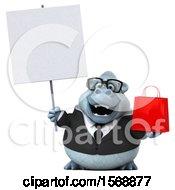 3d White Business Monkey Yeti Holding A Shopping Bag On A White Background