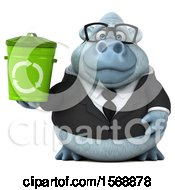 Clipart Of A 3d White Business Monkey Yeti Holding A Recycle Bin On A White Background Royalty Free Illustration
