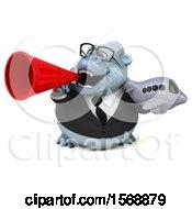 3d White Business Monkey Yeti Holding A Plane On A White Background