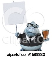 3d White Business Monkey Yeti Holding A Beer On A White Background