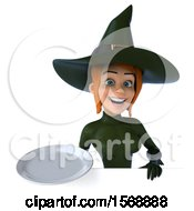 Clipart Of A 3d Sexy Green Witch Holding A Plate On A White Background Royalty Free Illustration by Julos