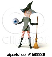 Clipart Of A 3d Sexy Green Witch Holding An Eyeball On A White Background Royalty Free Illustration by Julos