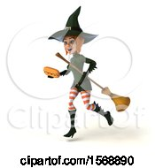 Clipart Of A 3d Sexy Green Witch Holding A Hot Dog On A White Background Royalty Free Illustration by Julos