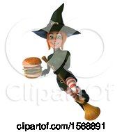 Clipart Of A 3d Sexy Green Witch Holding A Burger On A White Background Royalty Free Illustration by Julos