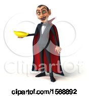 Clipart Of A 3d Dracula Vampire Holding A Banana On A White Background Royalty Free Illustration