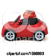 Poster, Art Print Of 3d Red Business T Rex Dinosaur Driving A Convertible On A White Background